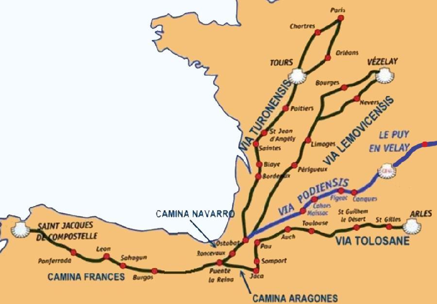 itinéraires du chemin de Compostelle
